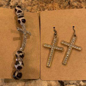 Faux Diamond Cross Earrings & Necklace